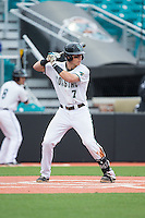 Zach Remillard (7) of the Coastal Carolina Chanticleers at bat against the Bryant Bulldogs at Springs Brooks Stadium on March 13, 2015 in Charlotte, North Carolina.  The Chanticleers defeated the Bulldogs 7-2.  (Brian Westerholt/Four Seam Images)