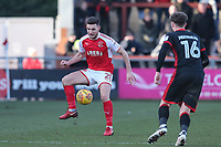 Lewis Coyle of Fleetwood Town under pressure from Robbie Muirhead of MK Dons during the Sky Bet League 1 match between Fleetwood Town and MK Dons at Highbury Stadium, Fleetwood, England on 24 February 2018. Photo by David Horn / PRiME Media Images