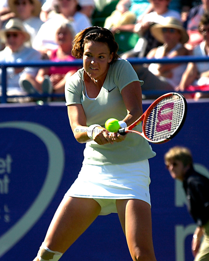 Photo. Rene Solari..19/6/01  .Eastbourne Day 2. American Lindsay Davenport proves she's a strong contender as she dominates the match against Frence Anne-Gaelle Sidot....
