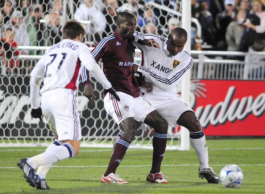 25 October 08: Rapids forward Omar Cummings battles Real Salt Lake defender Jamison Olave and midfielder Dema Kovalenko (17). Real Salt Lake tied the Colorado Rapids at Dick's Sporting Goods Park in Commerce City, Colorado. The tie advanced Real Salt Lake to the playoffs.