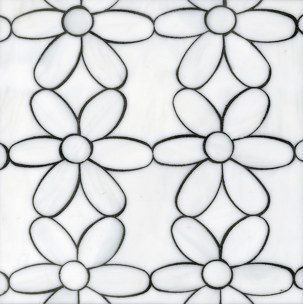 Daisies, a glass waterjet mosaic shown in Moonstone, is part of the Erin Adams Collection for New Ravenna.