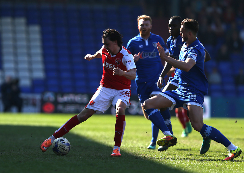 Fleetwood Town's Markus Schwabl and Oldham Athletic's Oliver Banks<br /> <br /> Photographer Stephen White/CameraSport<br /> <br /> The EFL Sky Bet League One - Oldham Athletic v Fleetwood Town - Saturday 8th April 2017 - SportsDirect.com Park - Oldham<br /> <br /> World Copyright &copy; 2017 CameraSport. All rights reserved. 43 Linden Ave. Countesthorpe. Leicester. England. LE8 5PG - Tel: +44 (0) 116 277 4147 - admin@camerasport.com - www.camerasport.com