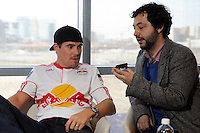 Chris Albright (3) of the New York Red Bulls is interviewed on Media Day at Red Bull Arena in Harrison, NJ, on March 15, 2011.