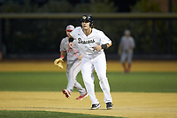 Bobby Seymour (3) of the Wake Forest Demon Deacons takes his lead off of first base against the North Carolina State Wolfpack at David F. Couch Ballpark on April 18, 2019 in  Winston-Salem, North Carolina. The Demon Deacons defeated the Wolfpack 7-3. (Brian Westerholt/Four Seam Images)