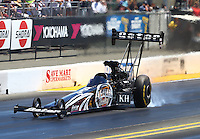 Jul. 26, 2014; Sonoma, CA, USA; NHRA top fuel driver Shawn Langdon during qualifying for the Sonoma Nationals at Sonoma Raceway. Mandatory Credit: Mark J. Rebilas-