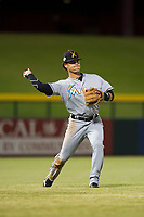 Salt River Rafters shortstop Bryson Brigman (15), of the Miami Marlins organization, during an Arizona Fall League game against the Mesa Solar Sox at Sloan Park on October 16, 2018 in Mesa, Arizona. Salt River defeated Mesa 2-1. (Zachary Lucy/Four Seam Images)