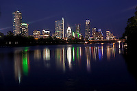Austin, Texas Skyline Cityscape with colorful reflection on Town Lake Austin.