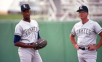 Ft. Lauderdale Yankees pitcher Brien Taylor (19) and pitching coach Mark Shiflett during the 1992 Florida State League season.  Taylor was selected first overall of the 1991 MLB Draft by the New York Yankees out of East Carteret High School in Beaufort, North Carolina.  (MJA/Four Seam Images)