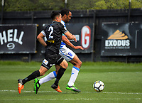 Paul Ifill beats Justin Gulley to score the equaliser during the ISPS Handa Premiership football match between Team Wellington and Tasman United at David Farrington Park in Wellington, New Zealand on Sunday, 12 November 2017. Photo: Dave Lintott / lintottphoto.co.nz