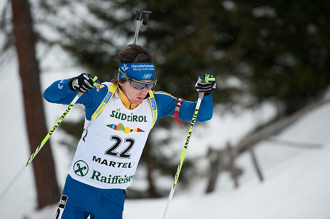 MARTELL-VAL MARTELLO, ITALY - FEBRUARY 02: ARMGREN Ted (SWE) during the Men 10 km Sprint at the IBU Cup Biathlon 6 on February 02, 2013 in Martell-Val Martello, Italy. (Photo by Dirk Markgraf)