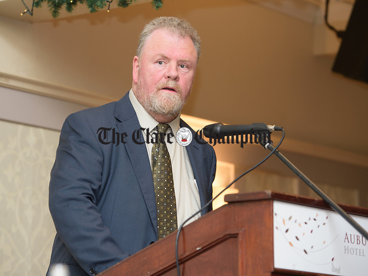 Joe Arkins, who proposed Senator Martin Conway speaking at the Clare Fine Gael selection convention in the Auburn Lodge hotel, Enis. Photograph by John Kelly.
