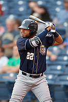 San Antonio Missions first baseman Fernando Perez (22) on deck during a game against the Tulsa Drillers on June 1, 2017 at ONEOK Field in Tulsa, Oklahoma.  Tulsa defeated San Antonio 5-4 in eleven innings.  (Mike Janes/Four Seam Images)