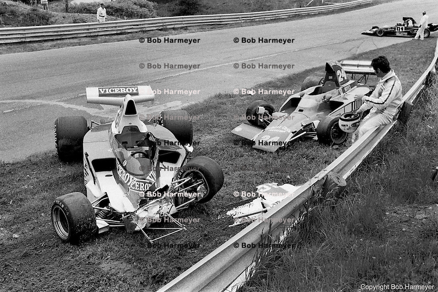 Al Unser sits on the guardrail after being involved in a crash during the 1975 Formula 5000 race on June 15, 1975, at Mosport Park near Bowmanville, Ontario, Canada.