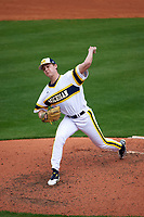 Michigan Wolverines relief pitcher Michael Hendrickson (30) delivers a pitch during the first game of a doubleheader against the Canisius College Golden Griffins on June 20, 2016 at Tradition Field in St. Lucie, Florida.  Michigan defeated Canisius 6-2.  (Mike Janes/Four Seam Images)