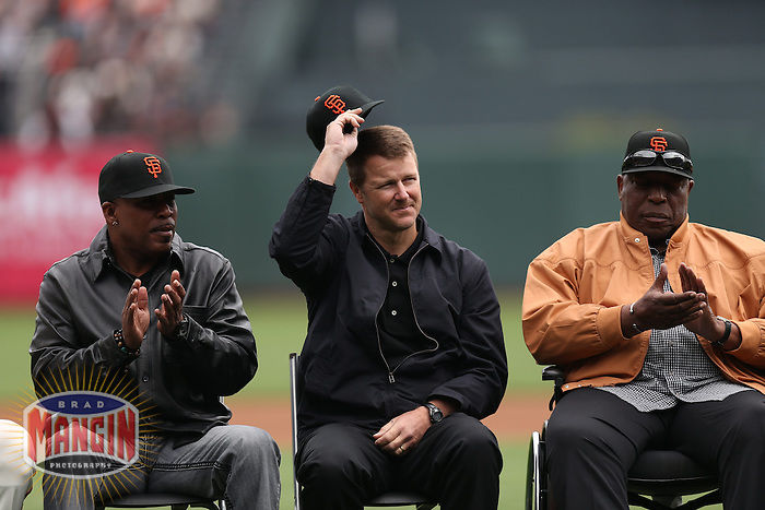 SAN FRANCISCO, CA - APRIL 6:  San Francisco Giants legends Kevin Mitchell, Jeff Kent, and Willie McCovey sit on the field during a ceremony honoring Buster Posey for winning the 2012 National League MVP before the Giants game against the St. Louis Cardinals at AT&T Park on April 6, 2013 in San Francisco, California. Photo by Brad Mangin