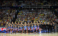 09.10.2016 Action during the Silver Ferns v Australia netball test match played at Qudos Bank Arena in Sydney. Mandatory Photo Credit ©Michael Bradley.