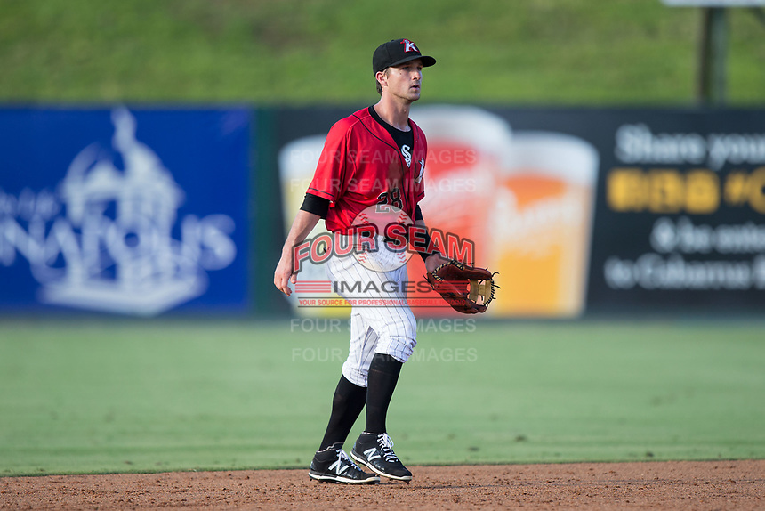Kannapolis Intimidators shortstop Grant Massey (28) on defense against the Hagerstown Suns at Kannapolis Intimidators Stadium on June 14, 2017 in Kannapolis, North Carolina.  The Intimidators defeated the Suns 4-1 in game one of a double-header.  (Brian Westerholt/Four Seam Images)