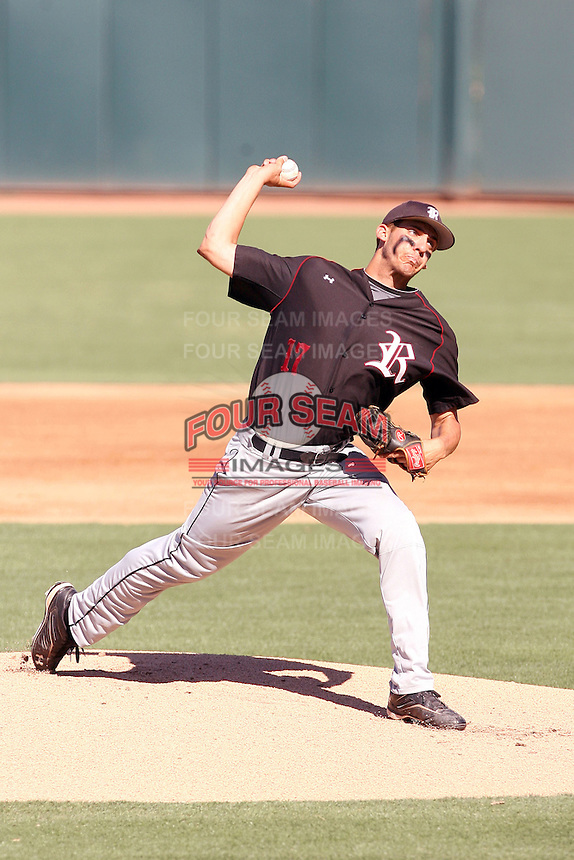 Scott Hoffman #17 of the Desert Ridge (Az.) High School Jaguars pitches against the Mountain Pointe High School Pride in the  Class 5A-1 state tournament at Phoenix Municipal Stadium on May 12, 2011 in Phoenix, Arizona..Photo by:  Bill Mitchell/Four Seam Images