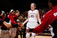 Stanford's Bonnie Samuelson, before Stanford women's basketball  vs Washington State at Maples Pavilion, Stanford, California on March 1, 2014.