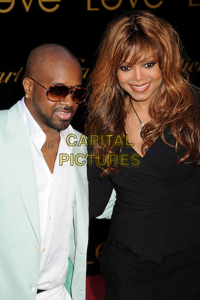 "JERMAINE DUPRI & JANET JACKSON.Cartier's 3rd Annual ""Love Day"" Celebration at a Private Residence in Bel Air, Los Angeles, California, USA..June 18th, 2008.half length black wrap top sunglasses shades beard facial hair mint green suit jacket white shirt couple.CAP/ADM/BP.©Byron Purvis/AdMedia/Capital Pictures."