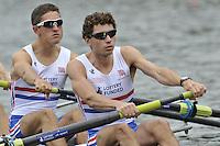 Amsterdam, NETHERLANDSS, GBR LM4-.  William FLETCHER and Jamie KIRKWOOD..  2011 FISA U23 World Rowing Championships, {dow}, {date} [Mandatory credit:  Intersport Images].