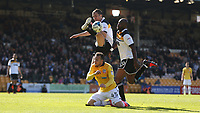 Bolton Wanderers' Adam Le Fondre battles with Port Vale's Danny Pugh and Andre Bikey<br /> <br /> Photographer Stephen White/CameraSport<br /> <br /> The EFL Sky Bet League One - Port Vale v Bolton Wanderers  - Saturday 22nd April 2017 - Vale Park - Burslem<br /> <br /> World Copyright &copy; 2017 CameraSport. All rights reserved. 43 Linden Ave. Countesthorpe. Leicester. England. LE8 5PG - Tel: +44 (0) 116 277 4147 - admin@camerasport.com - www.camerasport.com