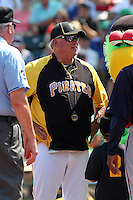 Pittsburgh Pirates manager Clint Hurdle #13 before a spring training game against the Minnesota Twins at McKechnie Field on March 10, 2012 in Bradenton, Florida.  Minnesota defeated Pittsburgh 4-2.  (Mike Janes/Four Seam Images)