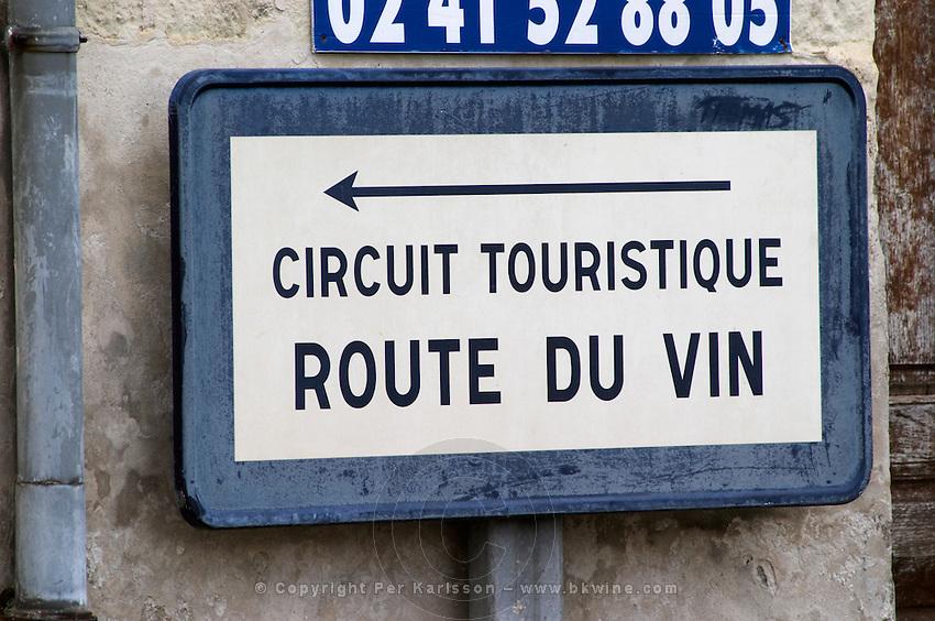 Road sign: The wine road, Route du Vin. Fontevraud, Anjou, Loire, France