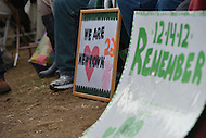 January 26, 2013  (Washington, DC)  Family members of Sandy Hook shooting victims display signs of remembrance. The families, seated in front of the stage, listen to speakers during the rally for gun control on the National Mall in Washington.  (Photo by Don Baxter/Media Images International)