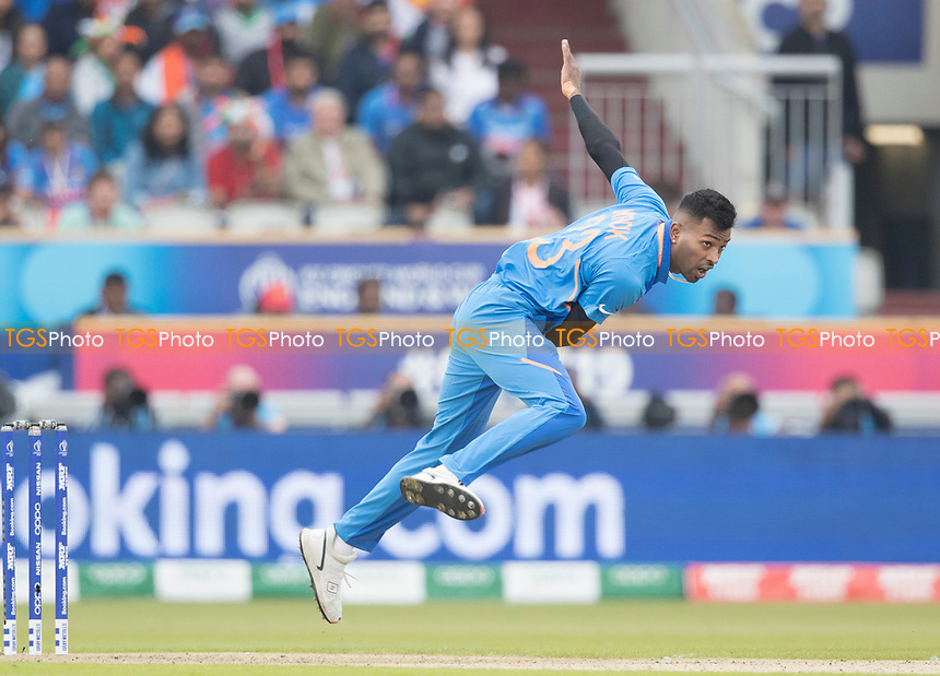 Hardik Pandya (India) during India vs New Zealand, ICC World Cup Semi-Final Cricket at Old Trafford on 9th July 2019
