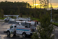FPL Trucks are seen at Flagler Yard during preparation for the arrival of Hurricane Irma, Saturday, Sept. 9, 2017. (Alex Menendez)