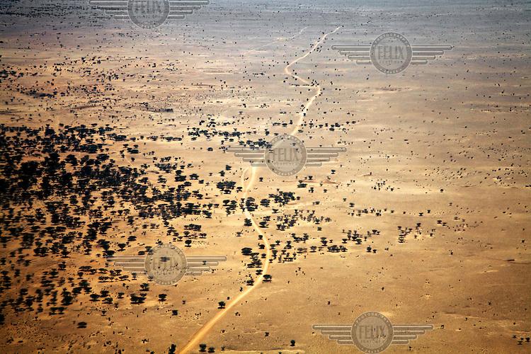 An aerial view of a road running through the Turkana region.