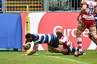 Taulupe Faletau of Bath Rugby scores his second try of the match. Aviva Premiership match, between Bath Rugby and Gloucester Rugby on April 30, 2017 at the Recreation Ground in Bath, England. Photo by: Patrick Khachfe / Onside Images