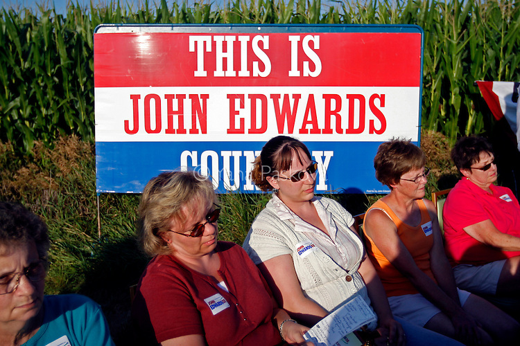 Democratic Presidential hopeful John Edwards (D-NC) campaigns in Webster City, IA, on July 13, 2007.