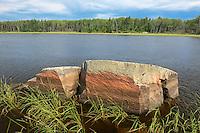 Rocky shoreline along the Bloodvein River<br /> Bloodvein<br /> Manitoba<br /> Canada
