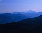Columbia River Gorge National Scenic Area Mount Adams from Larch Mountain sunrise with trees and foot hills Oregon State USA