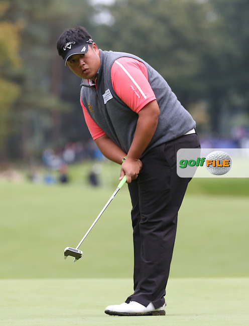 Kiradech Aphibarnrat (THA) is wire to wire 67 during the Third Round of the British Masters 2015 supported by SkySports played on the Marquess Course at Woburn Golf Club, Little Brickhill, Milton Keynes, England.  10/10/2015. Picture: Golffile | David Lloyd<br /> <br /> All photos usage must carry mandatory copyright credit (&copy; Golffile | David Lloyd)