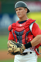 Lowell Spinners catcher CARSON BLAIR  during a game vs. the Hudson Valley Renegades at LeLacheur Park in Lowell,Massachusetts on August 22, 2010.   .  Photo By Ken Babbitt/Four Seam Images