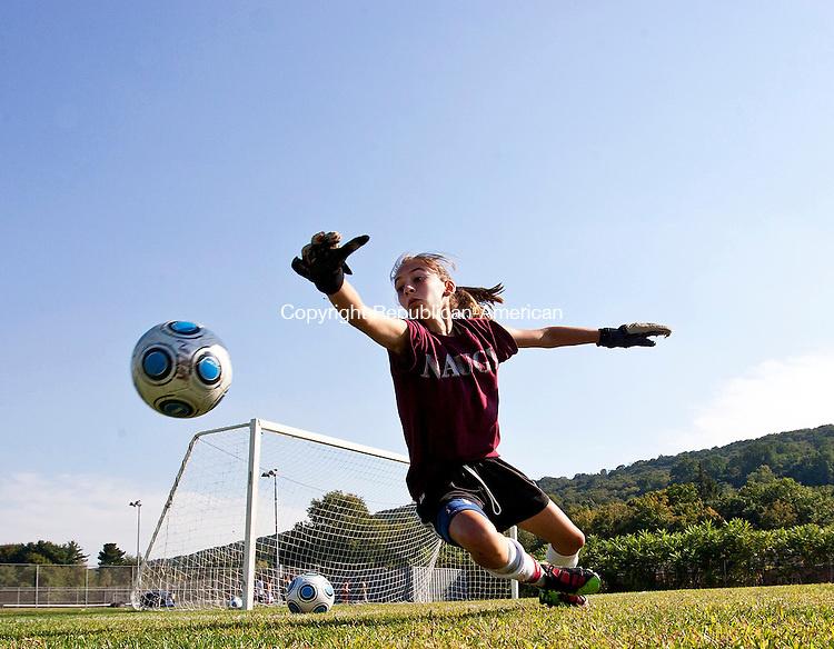 Naugatuck, CT- 07, September 2010-090710CM02  Naugy freshman and goal keeper, Cailah Baranowski practices drills with new assistant  coach, Dave Ciskowski Tuesday afternoon at Naugatuck High School.  The girls soccer team welcomes two new coaches to the line-up this year, Sean Dunn and Ciskowski.  The team will be lead by head coach, Jose Sendra.  The Greyhounds open their 2010 season against Holy Cross, September 14, at 6:30pm at Municipal Stadium in Waterbury.  Christopher Massa Republican-American