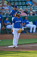 Ronny Brito (5) of the Ogden Raptors on defense against the Orem Owlz at Lindquist Field on June 26, 2018 in Ogden, Utah. The Raptors defeated the Owlz 6-5. (Stephen Smith/Four Seam Images)