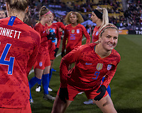 COLUMBUS, OH - NOVEMBER 07: Lindsey Horan #9 of the United States warms up during a game between Sweden and USWNT at Mapfre Stadium on November 07, 2019 in Columbus, Ohio.