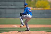 Chicago Cubs relief pitcher Erick Leal (52) prepares to deliver a pitch during an Extended Spring Training game against the Los Angeles Angels at Sloan Park on April 14, 2018 in Mesa, Arizona. (Zachary Lucy/Four Seam Images)