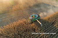 63801-12803 Harvesting corn in fall-aerial  Marion Co. IL