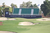 The 9th green during the preview for the DP World Tour Championship at the Earth course,  Jumeirah Golf Estates in Dubai, UAE,  18/11/2015.<br /> Picture: Golffile | Thos Caffrey<br /> <br /> All photo usage must carry mandatory copyright credit (&copy; Golffile | Thos Caffrey)