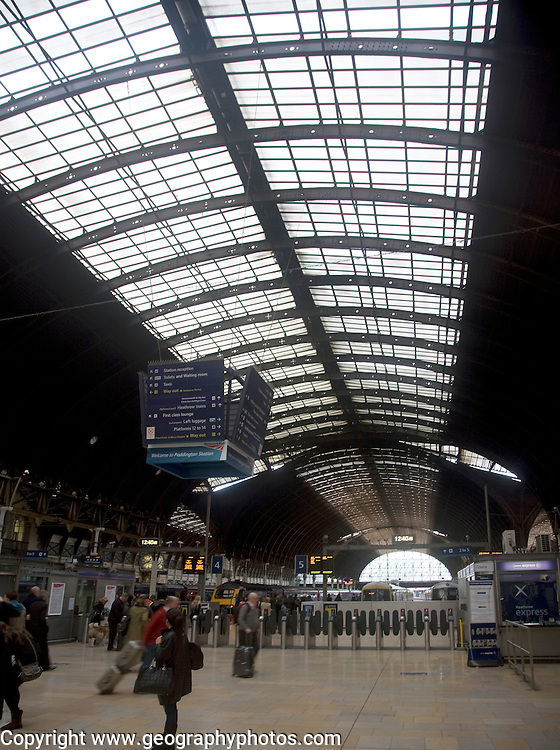 People on the concourse, Paddington railway station, London, England
