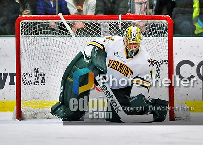 27 January 2012: University of Vermont Catamount goaltender John Vazzano, a Senior from Trumbull, CT, makes a second period save against the Northeastern University Huskies at Gutterson Fieldhouse in Burlington, Vermont. The Catamounts fell to the Huskies 8-3 in the first game of their 2-game Hockey East weekend series. Mandatory Credit: Ed Wolfstein Photo