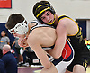 Brian Kelly of St. Anthony's, right, battles Joseph Lanciotti of St. John the Baptist at 138 pounds during the NSCHSAA varsity wrestling championships at St. John the Baptist High School on Sunday, Feb. 5, 2017. Kelly won the tightly-contested match by decision 4-3.