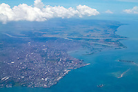 Indonesia, Sulawesi, Makassar. Makassar seen from airplane.