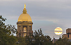 Sept. 27, 2015; The Golden Dome and supermoon. (Photo by Barbara Johnston/University of Notre Dame)