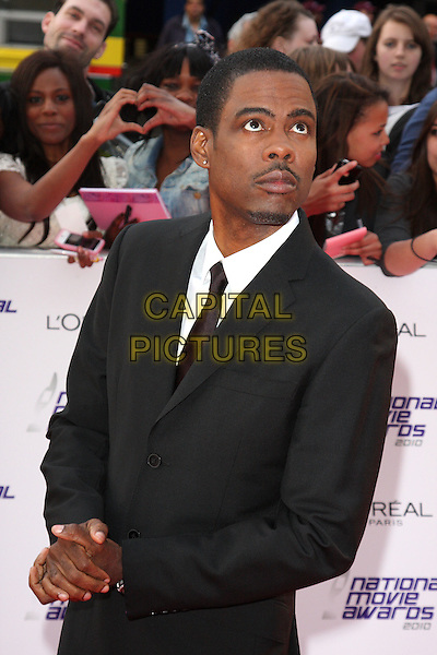 CHRIS ROCK .National Movie Awards 2010 at the Royal Festival Hall, London, England,  May 26th 2010..arrivals half length  black tie white shirt goatee facial hair moustache mustache .CAP/ROS.©Steve Ross/Capital Pictures.